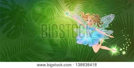 Illustration of cute kind cheerful fairy with a magic wand on against the background of the magic forest