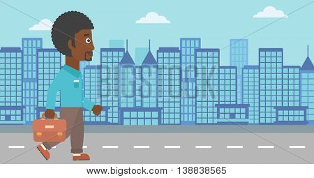 An african-american businessman walking with a briefcase. Businessman walking down the street. Vector flat design illustration. Horizontal layout.