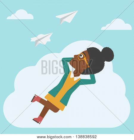 An african-american business woman lying on a cloud and looking at flying paper plane. Business woman relaxing on a cloud. Vector flat design illustration. Square layout.