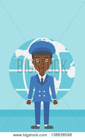 An african-american business woman standing on a background of Earth globe. Business woman taking part in global business. Global business concept. Vector flat design illustration. Vertical layout.