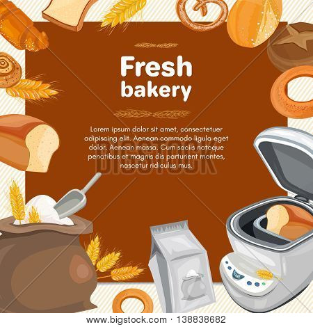 Bakery products fresh loaf of rye bread with breadmaker baked goods cartoon vector