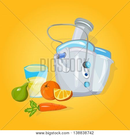 Juicer machine cartoon vector making juice in kitchen