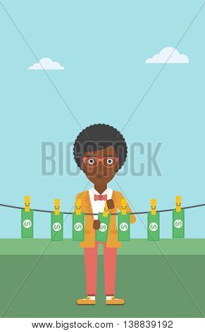 An african-american business woman drying banknotes on the clothesline on the background of blue sky. Woman loundering money. Vector flat design illustration. Vertical layout.