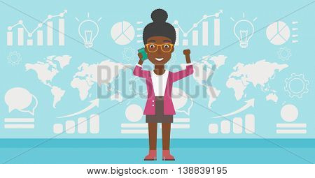 An african-american business woman getting good news on mobile phone on the background of growth charts and map. Business success concept. Vector flat design illustration. Horizontal layout.