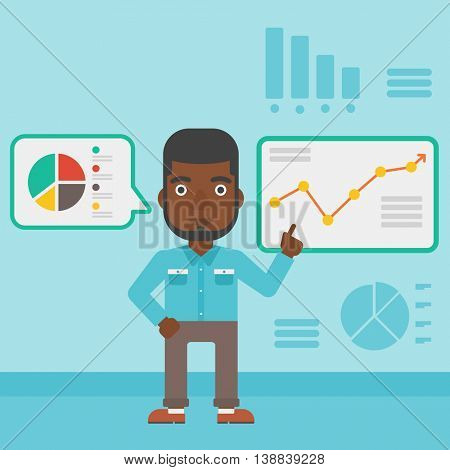 An african-american businessman pointing at charts on a board during business presentation. Man giving a business presentation. Vector flat design illustration. Square layout.