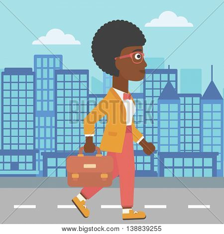 An african-american business woman walking with a briefcase. Business woman walking down the street. Vector flat design illustration. Square layout.