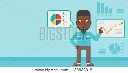 An african-american businessman pointing at charts on a board during business presentation. Man giving a business presentation. Vector flat design illustration. Horizontal layout.