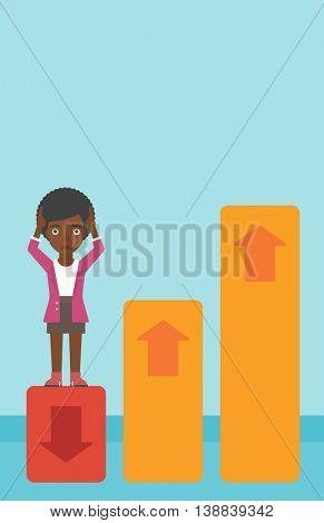 An african-american business woman clutching her head. Bankrupt standing on chart going down. Concept of business bankruptcy. Vector flat design illustration. Vertical layout.