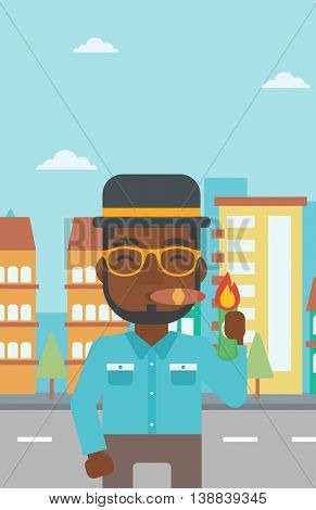 An african-american businessman lighting a cigar with dollar bill. A successful businessman smoking a cigar on the background of modern city. Vector flat design illustration. Vertical layout.