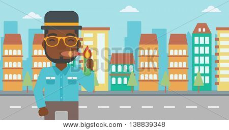 An african-american businessman lighting a cigar with dollar bill. A successful businessman smoking a cigar on the background of modern city. Vector flat design illustration. Horizontal layout.