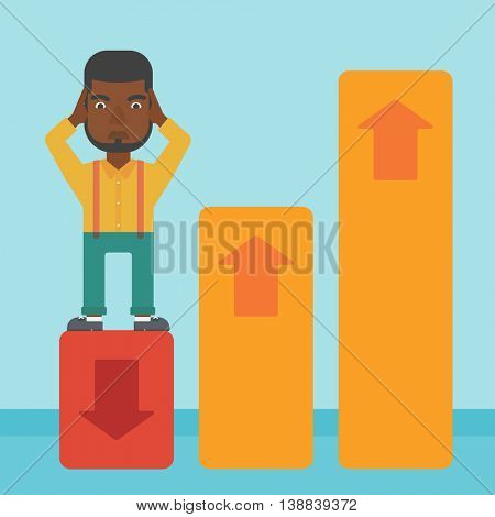 An african-american bankrupt clutching his head. Bankrupt standing on chart going down. Concept of business bankruptcy. Vector flat design illustration. Square layout.
