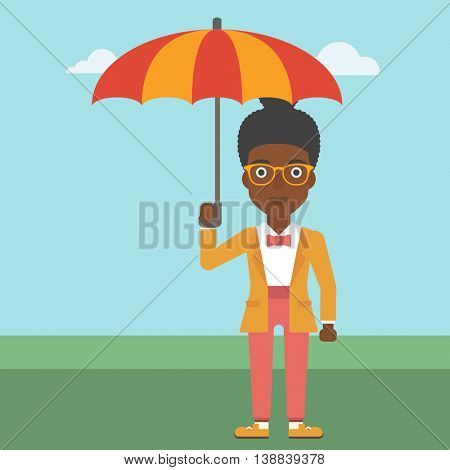 An african-american business woman standing with open umbrella on the background of blue sky. A woman under open umbrella. Happy woman with umbrella. Vector flat design illustration. Square layout.