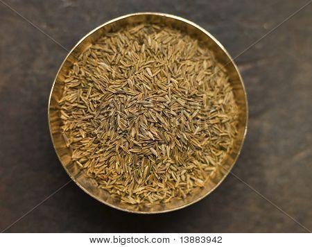 Overhead shot of Dish of Cumin Seeds