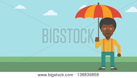 An african-american businessman standing with open umbrella on the background of blue sky. Businessman under open umbrella. Happy man with umbrella. Vector flat design illustration. Horizontal layout.