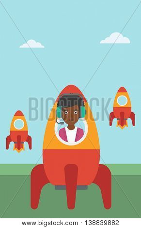 An african-american business woman in headphones flying in the rocket. Successful business start up concept. Business rocket taking off. Vector flat design illustration. Vertical layout.