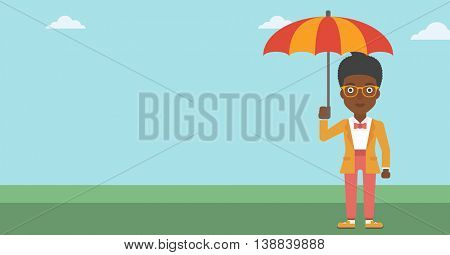 African-american business woman standing with open umbrella on the background of blue sky. A woman under open umbrella. Happy woman with umbrella. Vector flat design illustration. Horizontal layout.