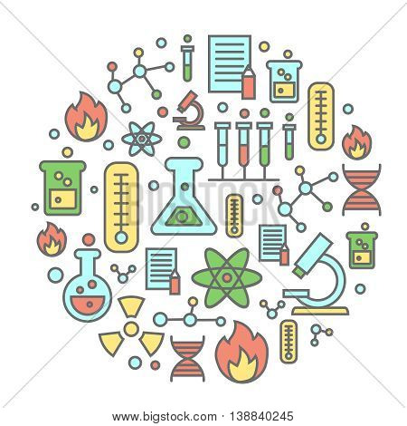 Chemistry flat concept with lab research equipment and scientist Round colorful background illustration