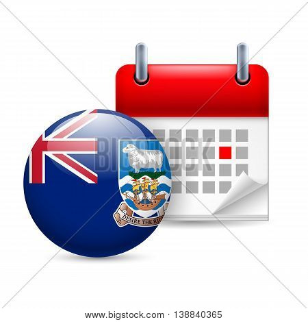 Calendar and round flag icon. National holiday on Falkland Islands