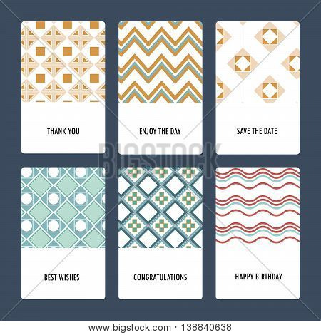 Set of perfect vector card templates. Ideal for Save The Date, baby shower, mothers day, valentines day, birthday cards, invitations.