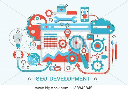 Modern Flat thin Line design SEO and development concept for web banner website, presentation, flyer and poster