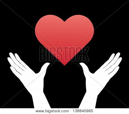 hand hold the heart and black background