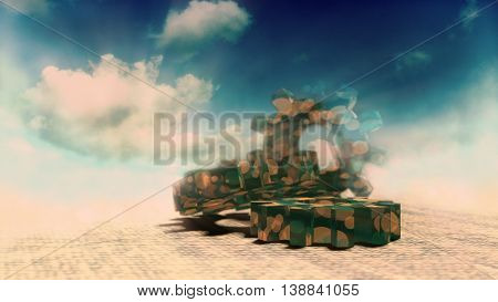 Industry theme relative abstract background concept. Cloudscape with spotted gears. 3D rendering