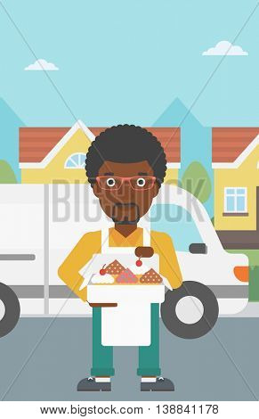 An african-american baker holding a box of cakes. Baker delivering cakes. A baker with cupcakes standing on the background of delivery truck. Vector flat design illustration. Vertical layout.