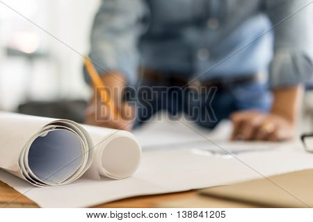 business architecture drawing on blueprint architectural concept soft focus