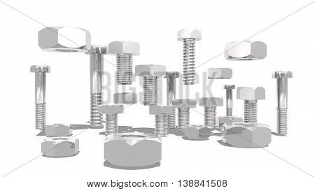 Silver nuts and bolt kit. Service and repair relative image. 3D rendering