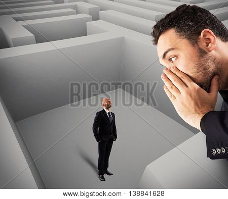 Man inside the maze hears a suggestion