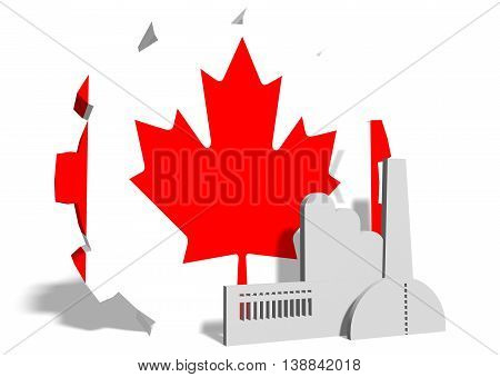 Canada industry relative concept. Factory icon and gear textured by national flag. 3D rendering