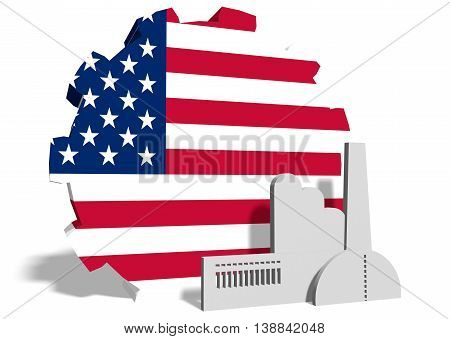 United States industry relative concept. Factory icon and gear textured by national flag. 3D rendering