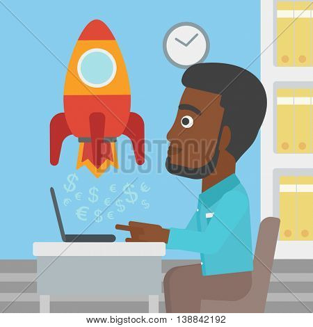 An african-american businessman sitting at the table and looking at a business start up rocket taking off. Business start up concept. Vector flat design illustration. Square layout.