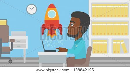 An african-american businessman sitting at the table and looking at a business start up rocket taking off. Business start up concept. Vector flat design illustration. Horizontal layout.