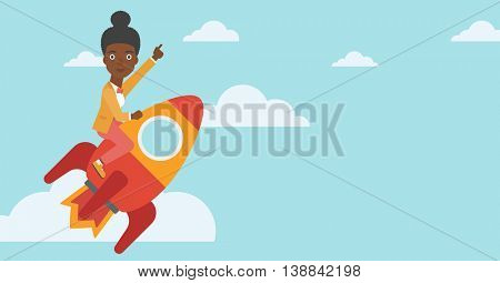 An african-american business woman flying on the business start up rocket and pointing forefinger up. Successful business start up concept. Vector flat design illustration. Horizontal layout.