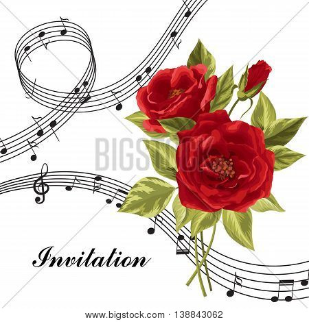 Vector illustration with music notes and rose flowers isolated on white background.