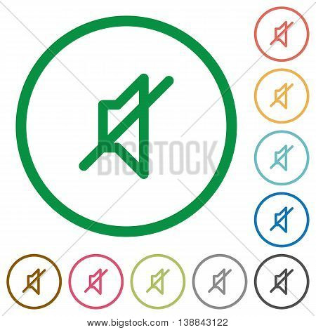 Set of mute color round outlined flat icons on white background