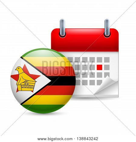 Calendar and round Zimbabwean flag icon. National holiday in Zimbabwe