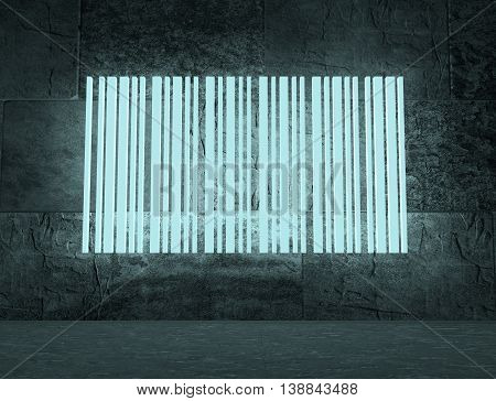 Bar code on concrete wall in empty room. Neon shine shape. 3D rendering