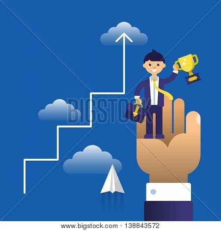 Business Concept Flat Modern Design For Reaching And Achievement. Isolated Vector Illustration