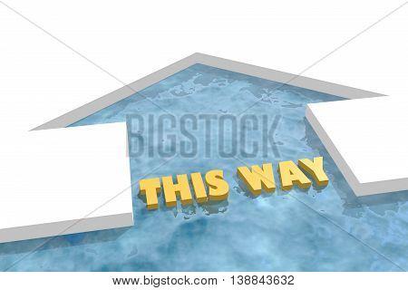 iced arrow in ocean and this way text. Way choosing metaphor. 3D rendering