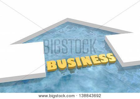 iced arrow in ocean and business word. Way choosing metaphor. 3D rendering