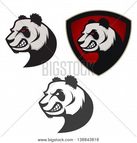 Emblem with panda. Sport team mascot. Design element for logo label emblem sign badge. Vector illustration.