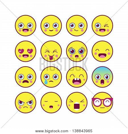 Emoticons, Emoji Linear Icon Set. Kawaii Cute Emoticons. Isolated Vector Illustration