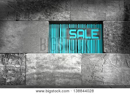 Sale word and bar code on concrete wall in empty room. 3D rendering