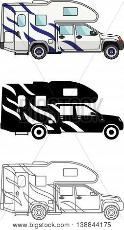 Detailed illustration of car and travel trailers isolated on white background in a flat style.