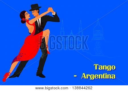 Vector design of Couple performing Tango dance of Argentina