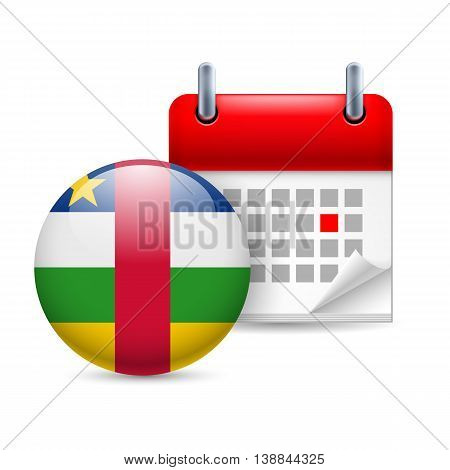 Calendar and round flag icon. National holiday in Central African Republic