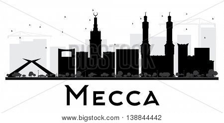 Mecca City skyline black and white silhouette. Simple flat concept for tourism presentation, banner, placard or web site. Business travel concept. Cityscape with landmarks