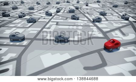 3D Rendering toy cars on a path of streets map